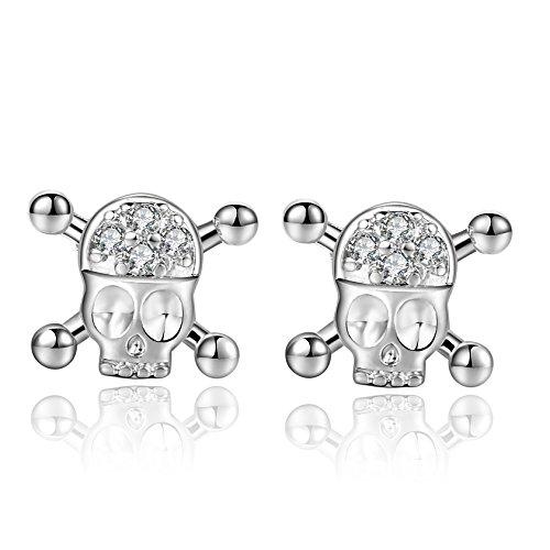 18g 316l Surgical Steel Cute Skull Cartilage Piercing Earrings Stud Sleeper Earrings 2 Pieces