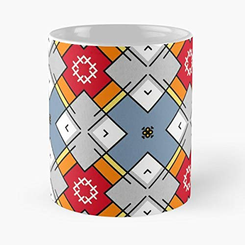 (Square Tile Grey Red Gift Coffee/tea Ceramic Mug 11 Oz)