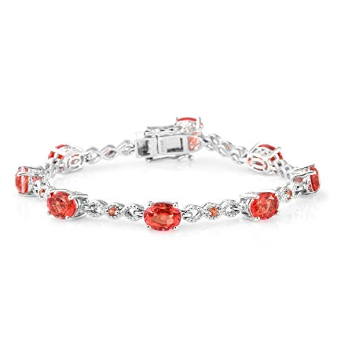925 Sterling Silver Platinum Plated Oval 0 Orange Sapphire Fashion Bracelet For Women 7.25