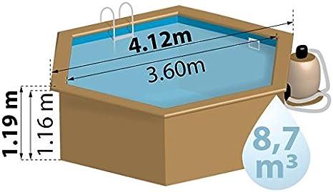 Piscina Madera Gre Vanille TerraPools 412x119 cm.: Amazon.es: Hogar