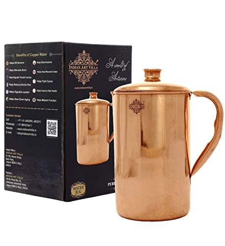 Indian Art Villa Copper Jug Pitcher, Drinkware and Serveware, Good Health Benefits  1300 ml