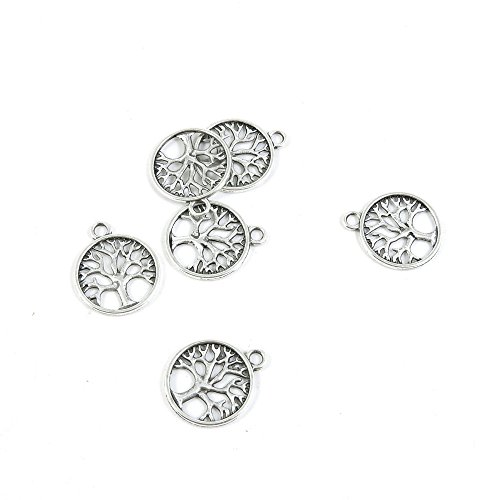 - 20 Pieces Antique Silver Tone Jewelry Making Charms Pendant Findings Craft Supplies Bulk Lots Arts Y0DD3 Life String Tree Oak