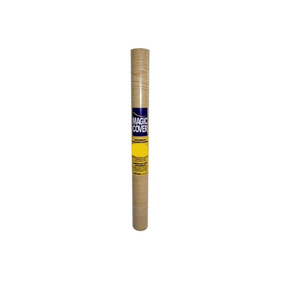 Magic Cover Premium Adhesive Vinyl Contact Shelf Liner and Drawer Liner, 18''x9', Golden Oak