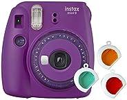 Câmera Instantânea Fujifilm Instax Mini 9 com 3 Filtros Coloridos, Roxo Açaí