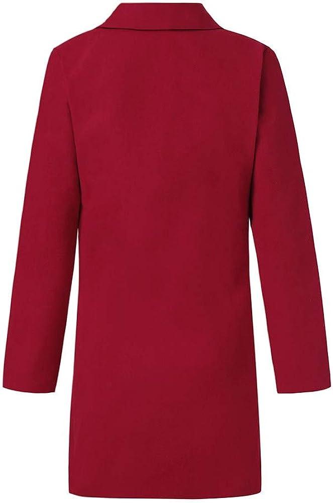 BITOPYTOPSIY Women Lapel Autumn Long Sleeve Open Stitch Coat Jacket with Belt Cardigan Pullover