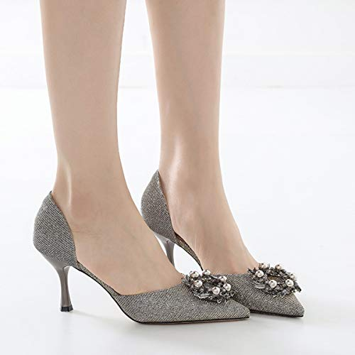 sexy fashion LBTSQ middle heel wild pointy Thirty heels heels shoes thin five heads women shoes bridesmaids women's High x0qfxOrg