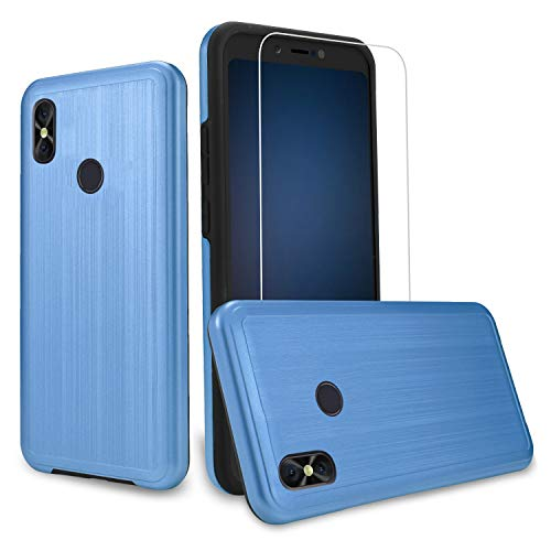 [Case + Screen Protector] BLU Advance A6 2018 Case, Compatible Case for Blu Vivo Go, BLU Studio Mega (2018) Case, [Tough Hybrid][Armor][Shockproof][Dual Layer][Drop Protection] Case (Blue + SP) -