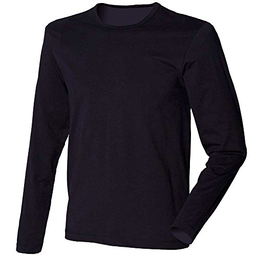 Skinni Fit Mens Stretch long sleeve crew neck T-shirt