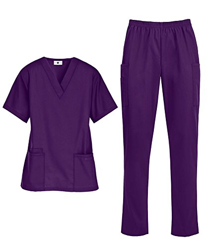 - Women's Medical Uniform Scrub Set – Includes V-Neck Top and Elastic Pant (XS-3X, 14 Colors) (Large, Eggplant)