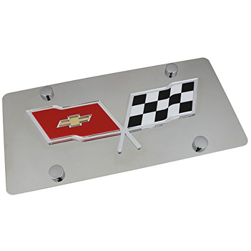 Chevy Corvette C3 Logo On Polished Stainless Steel License Plate