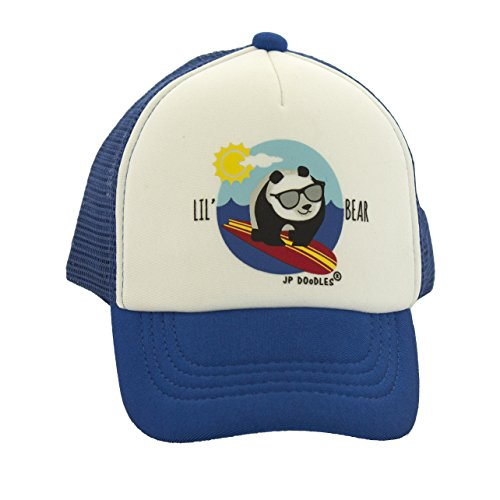 Little Bitty Hat - JP DOoDLES Little Surfer Panda Bear Boy on Baby Trucker Hat. (Itty Bitty 4-12 Mos, Royal Blue)