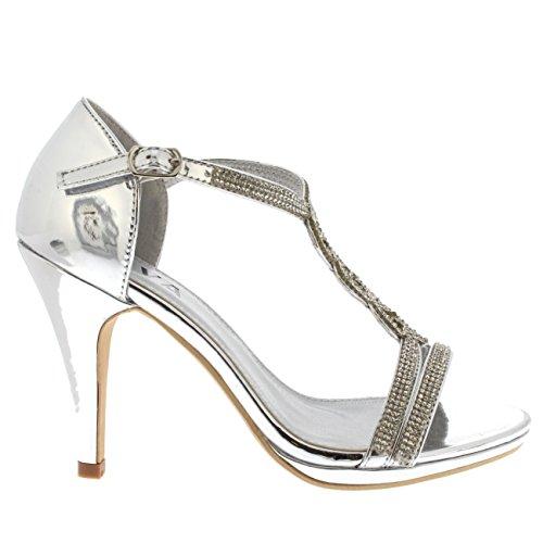 Viva Womens Diamante T-Bar Mid Heel Wedding Party Metallic Sandals Shoes Silver kBqvhD
