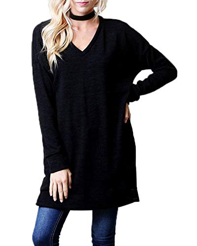 Automne Mini Jumpers Pulls Hauts Shirt Long Tee Pullover Casual Shirts JackenLOVE V Manches Femmes Noir Robes Chandail Col Mode Tunique Printemps Sweat T Tops Longues 7z5wCq1