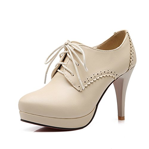 Lucksender Mujeres Round Toe High Stiletto Heels Lace Up Soild Bombas Beige