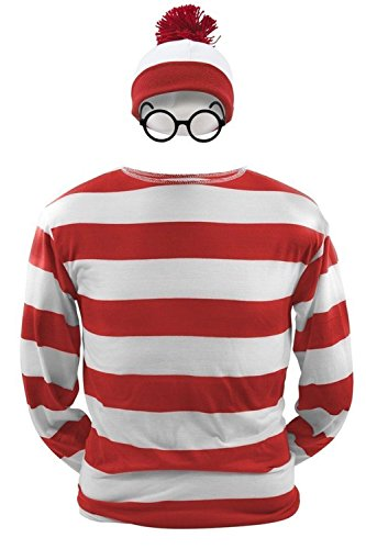 Waldo Outfit Wheres (Where's Waldo Now Costume Adult Funny Sweatshirt Hoodie Outfit Glasses Hat Cap Suits (Large,)