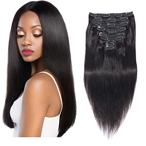 (Double Weft clip in hair extensions human hair for black women 100% Thick Remy Hair 8pcs Soft Silky Straight Extensions(16))