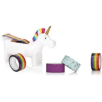 NPW-USA Unicorn Tape Dispenser Bundle with extra rolls of Rainbow Tape, Unicorn Tape, and Glitter Tape.