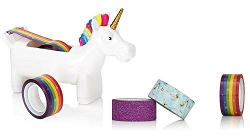 NPW-USA Unicorn Tape Dispenser Bundle with Extra Rolls of Rainbow Tape, Unicorn Tape, and Glitter Tape.