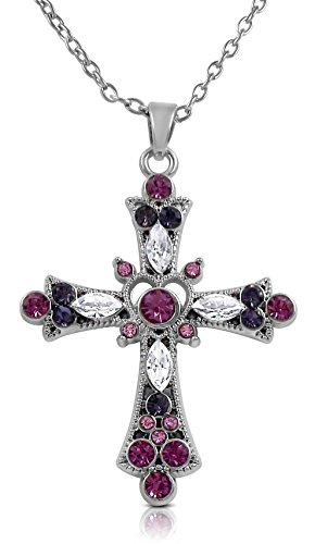 Glamour Girl Gifts - Mother's Day Jewelry Gift - Purple and Pink Crystal 1-1/2 Religious Cross Pendant Necklace for Teens and Women - Purple Crystal Cross Pendant