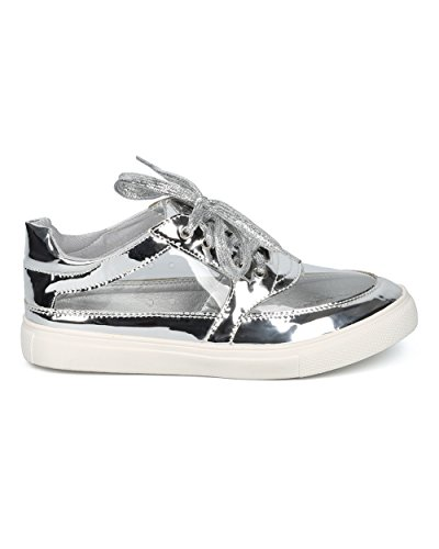 Alrisco Women Perspex Low Top Sneaker - Round Toe Lucite Sneaker - Trendy Fashion Casual Walking Shoe - HC46 by Liliana Collection Silver Metallic 8v8Mzwkmjj