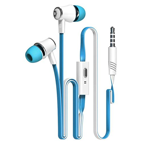 AutumnFall 3.5mm In Ear Headphones Wired Earphones Passive Noise Cancellating Earbuds Headphones with Mic Blue