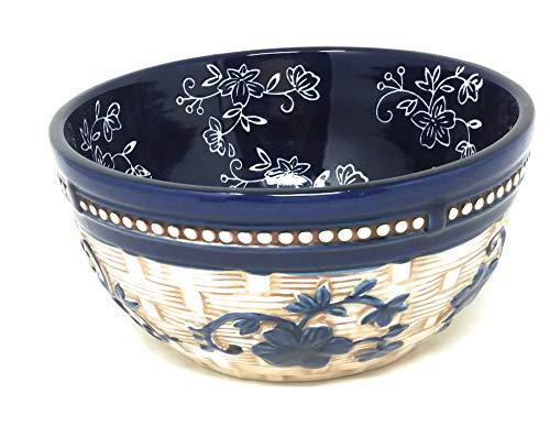 Temp-tations Basketweave Bowl, Mix, Bake, Serve, 1.5 Qt, Stoneware (Floral Lace Blue)