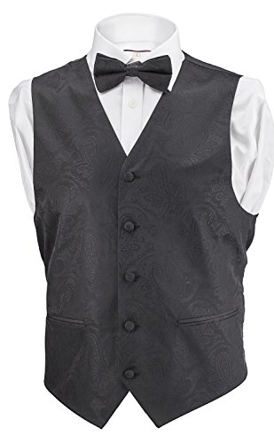 Alberto Cardinali Men's Dress Vest Paisley 4 Piece Set Vest Neck Tie Hanky Bow Tie Matching For Suit or Tuxedo (Black, Medium) (Vests Shirts Tuxedo)