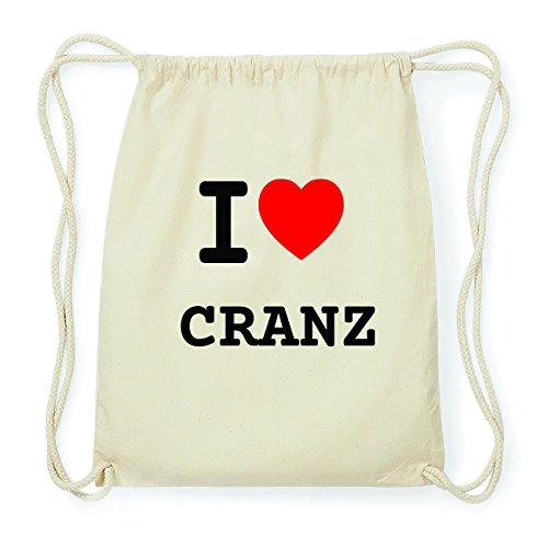 JOllify CRANZ Hipster Turnbeutel Tasche Rucksack aus Baumwolle - Farbe: natur Design: I love- Ich liebe 5RX7pdabG