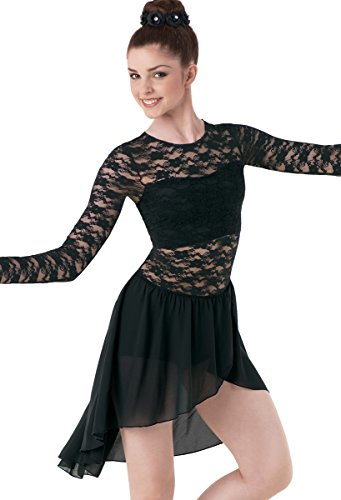 Contemporary Dance Costumes Black (Balera Lyrical Dance Dress Long Sleeve Lace and Georgette with Built-In Bra and Shorts Black Child Large)
