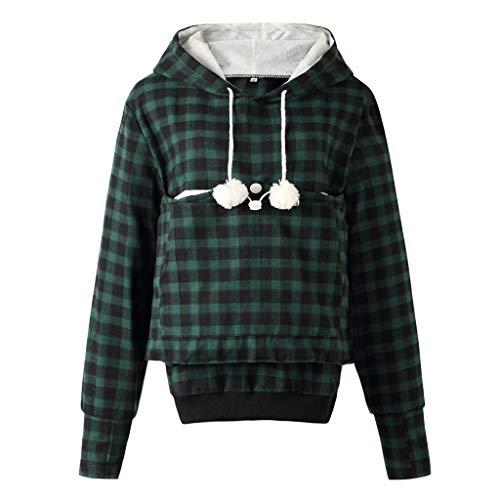 Crop Hoodie for Women,Women's Hoodies Pullover Sweatshirt Long Sleeve V Neck Plaid Splicing Lightweight Tunic Top(Green,8-10)