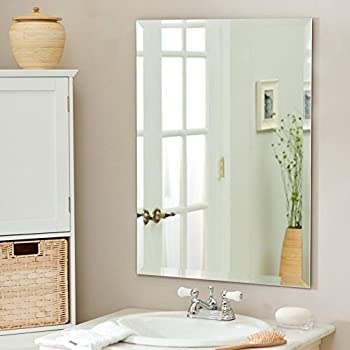 Large Rectangle Wall Mirror   30 In X 40 In Frameless Mirror With Beveled  Edge