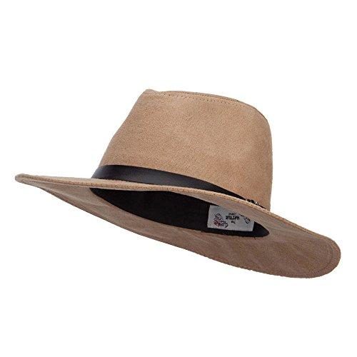 Suede Panama PU Buckle Band Hat - Tan OSFM