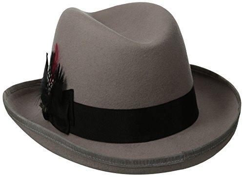 Scala Classico Men's Wool Felt Homburg Hat, Light Grey, Medium by Scala