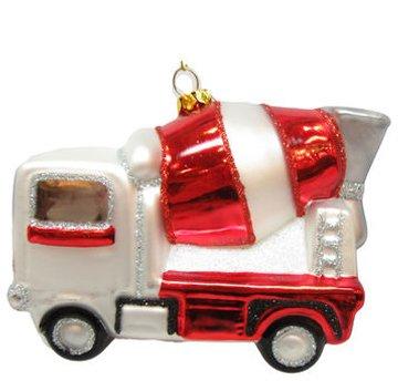 December Diamonds Blown Glass Ornament - Cement Truck Construction ()