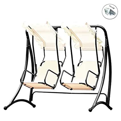 Side Pouches and Adjustable Canopy Outsunny 3 Person Outdoor Patio Porch Swing Chair with High Back Design Brown