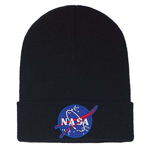 Knit Soft Hat ililily Embroidery Black Logo Ribbed Beanie Over NASA Meatball Fold xv4YUzvqw