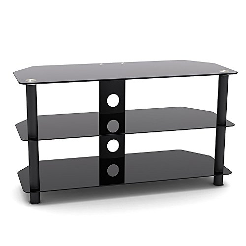 Price comparison product image ProHT Glass & Metal TV Stand (05445A) Supports Flat Panel TVs up to 42'' for DVD Players / Cable Boxes / Games Consoles / TV Accessories w / Three shelves,  Chrome Legs,  Black Tempered Glass,  Cable management