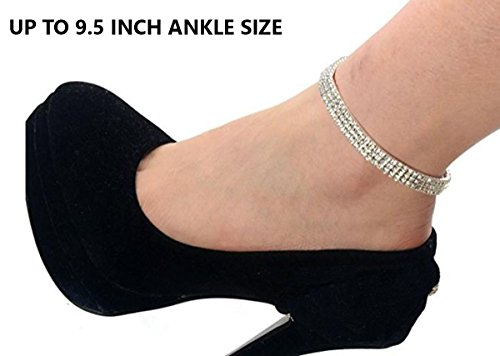 Sparkling Rhinestone Bracelet (Enriko 3 Row Bridal Princess Stretch Sparkling Crystal Clear CZ Rhinestones Diamond Ankle Bracelet Anklet)
