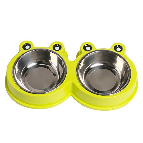 Double Dog Cat Bowls Premium Stainless Steel Pet Bowls with No-Slip Stainless Steel Cute Modeling Pet Food Water for Feeder Dogs Cats Rabbit and Pets