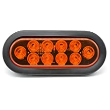 "6"" Oval Trailer Stop Turn Signal Parking Brake Marker Tail LED Light Lamp Kit Surface Mount for Truck Trailer Trail Bus RV - 12V 10 LED (Amber)"
