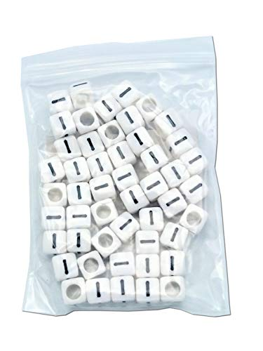 FEQM Pre-Sorted Letter Beads (6mm 50 pcs, White - Black Letter I)