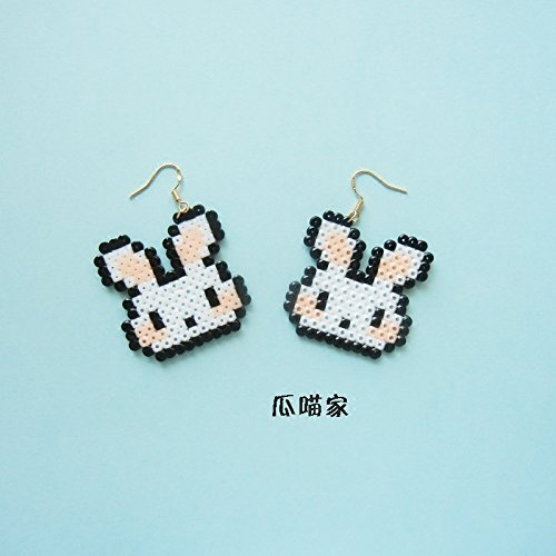 Meow hand of melon fight for pixel mosaic beans Jaese and Korean pop cute little rabbit 925 silver earrings ear clip