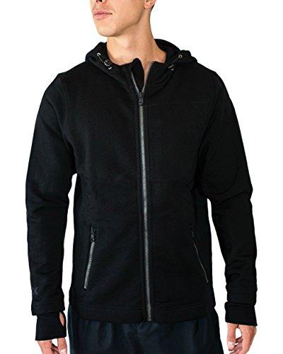 Woolx Mens Grizzly Full Zip Merino Wool Hoodie For Extreme Warmth, Black, Medium ()