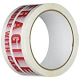 """TapeCase Printed White Carton Sealing Tape with Red Lettering -""""Fragile Handle w/care"""" - 2"""" x 55yds (1 Roll)"""