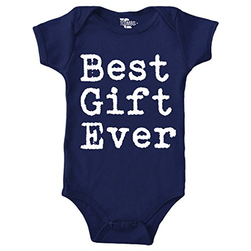 Best Gift Ever - Christmas Bodysuit (NEWBORN, NAVY BLUE) - Tuxido Suit