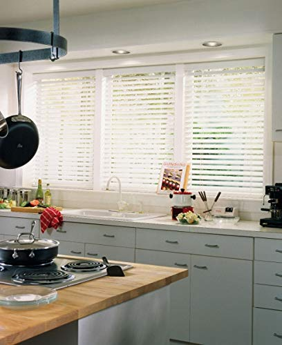 Windowsandgarden Custom Faux Wood Blinds, Any Size from 18 to 72 Wide and 24 high to 96 High, 28W x 46H, Bright White