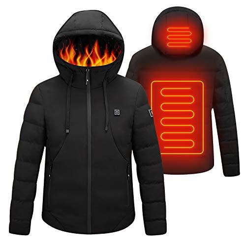 41PI8Re6qvL. SS500 Chaqueta con calefacción eléctrica con capucha: la chaqueta está hecha de algodón, poliéster y material impermeable, que puede ayudar a mantener el calor y evitar el agua y la lluvia. El tamaño de S a XXL es adecuado para casi todos, elija de acuerdo con la tabla de tallas. Grandes áreas de calefacción: el componente de calefacción de la chaqueta térmica está hecho de fibra de carbono importada y tiene grandes áreas de calefacción en la posición de la espalda y la nuca. Con tecnología de calefacción madura, esta chaqueta térmica puede calentarse rápidamente en climas extremadamente fríos. 3 Control de temperatura con calefacción: se pueden seleccionar tres temperaturas con solo presionar un botón en esta chaqueta cálida. Alta temperatura: color rojo (50 ° C), Temperatura media: color azul (40 ° C), Baja temperatura: color verde (30 ° C). El nivel de calentamiento ajustable lo hace ideal para la mayoría de las personas.