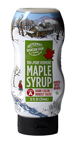 Butternut Mountain Farm 100% Pure Maple Syrup From Vermont, Grade A (Prev. Grade B), Dark Color, Robust Taste, All Natural, Easy Squeeze, 12 Fl Oz ()