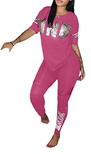 Molisry Women  Pink Word Letter Print V Neck Sweatshirt Long Pant Jumpsuits 2 Piece Outfits Pink XX-Large
