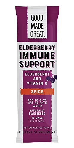 Good Made Great Foods 1000mg Elderberry + 750mg Vitamin C Drink Mix for Potent 2-in-1 Support*:: Non-GMO, 1g Sugar, Natural Spice Flavor, Delicious Warm & Cold, 12 Stick Packs